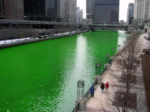 Chicago River dyed green St Patricks Day