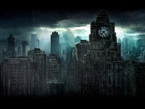 Dystopia with clock from wikipedia