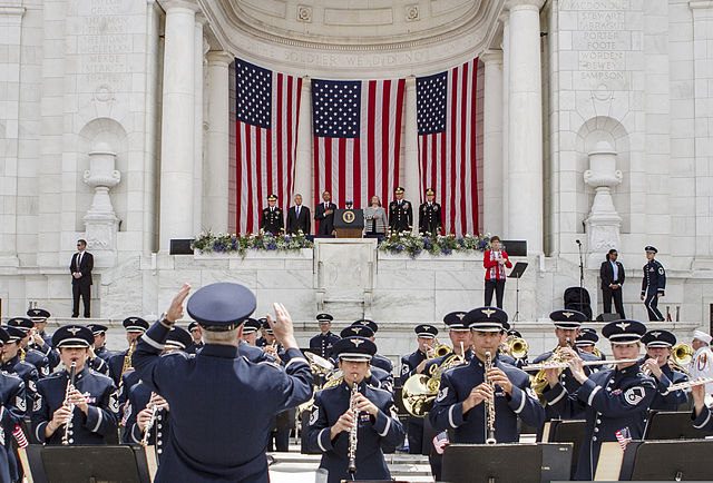 The U.S. Air Force Band plays the national anthem during a Memorial Day ceremony at the Memorial Amphitheater at Arlington