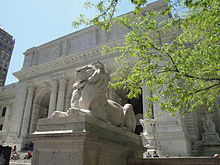 At the entrance to the New York Public Library