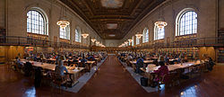 A panoramic view of the Rose Reading Room