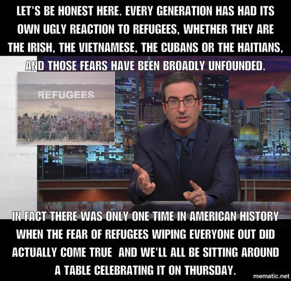 john oliver refugees thanksgiving