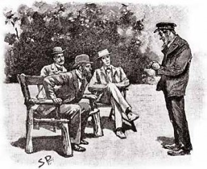 """Sherlock Holmes in """"The Adventure of the Gloria Scott"""", which appeared in The Strand Magazine in April, 1893. Original caption was """"'HUDSON IT IS, SIR,' SAID THE SEAMAN."""""""