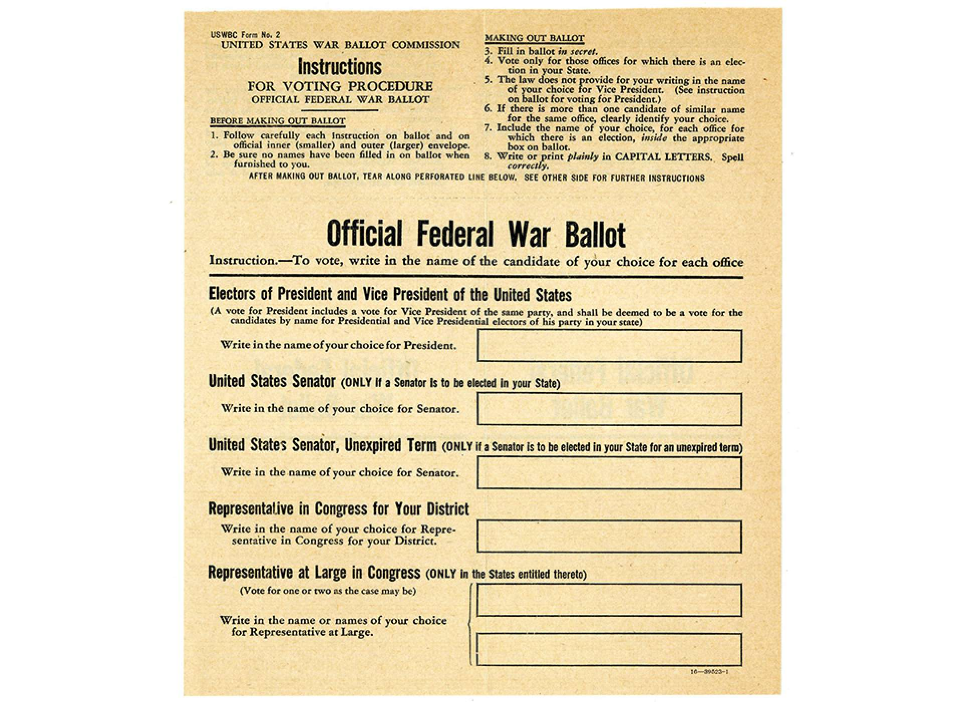 Image of the Federal War Ballot used in 1944
